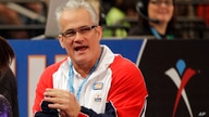 FILE - In this March 3, 2012, file photo, gymnastics coach John Geddert is seen at the American Cup gymnastics meet at Madison…