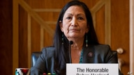 FILE - In this Tuesday, Feb. 23, 2021, file photo, Rep. Deb Haaland, D-N.M., listens during the Senate Committee on Energy and…