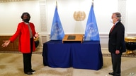 New U.S. Ambassador to the United Nations, Linda Thomas-Greenfield presents her credentials to U.N. Secretary General Antonio…