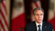 Secretary of State Antony Blinken, speaks during a virtual meeting with Mexican Secretary of Economy Tatiana Clouthier, who is…