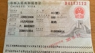 Rev Patrick Mahoney's Chinese visa