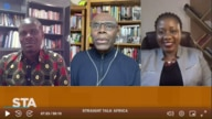 Shaka Ssali hosting Moses Khisa and Sarah Bireete on Straight Talk Africa.