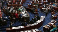 In this image from video, senators vote during the second impeachment trial of former President Donald Trump in the Senate at the U.S. Capitol in Washington, Feb. 13, 2021.