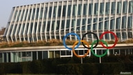 The Olympic rings are seen in front of the International Olympic Committee (IOC) headquarters, in Lausanne, Switzerland, Feb. 24, 2021.