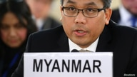 FILE - Myanmar's ambassador Kyaw Moe Tun addresses the U.N. Human Rights Council at the United Nations in Geneva, Switzerland, March 11, 2019.