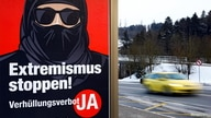 "A poster of the initiative committee against wearing the Burka (Verhuellungsverbot) reading ""Stop extremism! Veil ban -Yes"" is…"