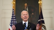 U.S. President Joe Biden speaks at the White House.