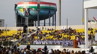 Pope Francis celebrates mass at the Franso Hariri Stadium in Irbil, Kurdistan Region of Iraq, Sunday, March 7, 2021.