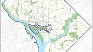 A map shows the District of Columbia and outlines the small area proposed as a federal enclave.