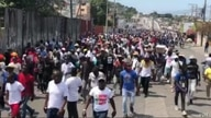Haiti's doctors, lawyers and handicapped protest against kidnapping and demand President Jovenel Moise step down, in Port-au-Prince, Haiti, March 7, 2021. (Photo: Matiado Vilme / VOA)