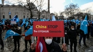 A protester from the Uyghur community living in Turkey holds an anti-China placard during a protest against the visit of China's Foreign Minister Wang Yi to Turkey, in Istanbul, March 25, 2021.