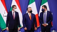 Hungary's Prime Minister Viktor Orban, Poland's Prime Minister Mateusz Morawiecki and Italy's League party leader Matteo…