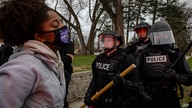 Protesters clash with police after a man was shot and killed by local law enforcement on Sunday, April 11, 2021, in Brooklyn…