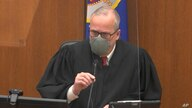 In this image from video, Hennepin County Judge Peter Cahill discusses motions before the court Tuesday, April 13, 2021, in the trial of former Minneapolis police Officer Derek Chauvin.