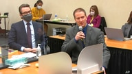 In this image from video, defense attorney Eric Nelson, left, and defendant, former Minneapolis police officer Derek Chauvin…