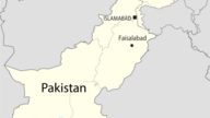 Map of Pakistan showing the location of Faisalabad
