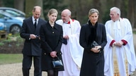 Britain's Prince Edward, Sophie Countess of Wessex and their daughter Lady Louise Windsor, attend the Sunday service at the Royal Chapel of All Saints, following the death of Prince Philip, at Royal Lodge, Windsor, April 11, 2021.