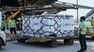 COVID-19 relief supplies from the U.S. are being unloaded from a U.S. Air Force aircraft at the Indira Gandhi International Airport's cargo terminal in New Delhi, India, April 30, 2021.
