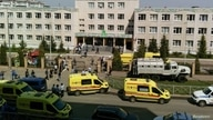 A view shows School Number 175 following a recent shooting in Kazan, Russia, May 11, 2021.