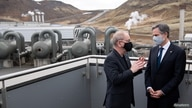 U.S. Secretary of State Antony Blinken speaks with CEO of Reykjavik Energy Bjarni Bjarnason during a tour to the Hellisheidi…