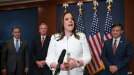 Rep. Elise Stefanik, R-N.Y., speaks to reporters at the Capitol in Washington, Friday, May 14, 2021, just after she was elected…