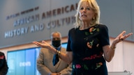 First lady Jill Biden speaks to gathered employees and media during a visit to the National Museum of African American History…