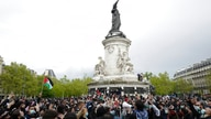 Protesters gather at Republique square during a banned protest in support of Palestinians in the Gaza Strip, in Paris, Saturday…