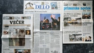 The front pages of Slovenian newspapers display titles on the attack on French satirical weekly Charlie Hebdo, Jan. 8, 2015 a day after two gunmen killed 12 people in an Islamist attack at the editorial office in Paris.