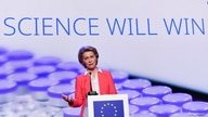 FILE - European Commission President Ursula von der Leyen speaks at a press conference after a visit to a production facility of U.S. pharmaceutical company Pfizer, in Puurs, Belgium April 23, 2021.