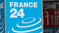 This photograph taken on April 9, 2019, shows the logo of the live news channel France 24 at Issy-les-Moulineaux, near Paris. …