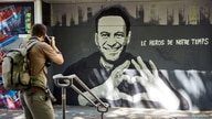A graffiti of Alexei Navalny by Swiss artists Julien Baro & Lud is pictured ahead of the June 16 summit in the Swiss city…