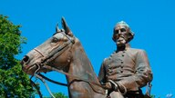 FILE - In this Aug. 18, 2017, file photo, a statue of Confederate Gen. Nathan Bedford Forrest sits in a park in Memphis, Tenn…