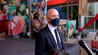 Secretary of Homeland Security Alejandro Mayorkas speaks with news media outside of the Little Haiti Cultural Center, Tuesday,…