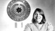 FILE - In this July 19, 1985, file photo, Wilma Mankiller, the first woman elected chief of the Cherokee Nation, poses in front…