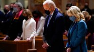 FILE - In this Wednesday, Jan. 20, 2021 file photo, President-elect Joe Biden and his wife, Jill Biden, attend Mass at the…