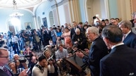 Senate Minority Leader Mitch McConnell of Ky., center right, speaks accompanied by Sen. John Barrasso, R-Wyo., and Sen. Roy…