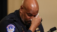 US Capitol Police officer Harry Dunn becomes emotional as he testifies  during the Select Committee investigation of the…