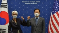 U.S. Deputy Secretary of State, Wendy Sherman and South Korean Foreign Minister Chung Eui-yong elbow bump prior to their meeting at the foreign ministry in Seoul, South Korea, July 22, 2021.