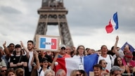"""Protesters attend a demonstration called by the French nationalist party """"Les Patriotes"""" (The Patriots) against France's…"""