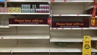 Empty shelves and signs on the soft drinks aisle of a Sainsbury's store in Rowley Regis in the West Midlands, England, Thursday…