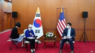 U.S. Deputy Secretary of State Wendy Sherman, second from left, talks to journalists as South Korean First Vice Foreign Minister Choi Jong Kun listens after their meeting at the Foreign Ministry in Seoul, South Korea, July 23, 2021.