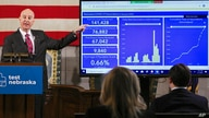 FILE - In this Jan. 11, 2021 file photo, Nebraska Gov. Pete Rickets points to vaccination statistics during a news conference…