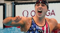 Katie Ledecky, of the United States, reacts after winning the women's 1500-meters freestyle final at the 2020 Summer Olympics, July 28, 2021, in Tokyo, Japan.