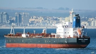 This Jan. 2, 2016 photo shows the Liberian-flagged oil tanker Mercer Street off Cape Town, South Africa. The oil tanker linked…