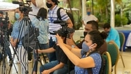 Nicaraguan journalists cover a news conference by the political opposition in Managua, Feb. 2021.