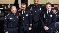 In this July 27, 2021 photo, from left, U.S. Capitol Police Sgt. Aquilino Gonell, Washington Metropolitan Police Department…