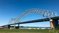 FILE - The Interstate 40 bridge connecting Tennessee and Arkansas is seen in Memphis, May 14, 2021. The bridge been indefinitely closed after a crack was found in one of its steel beams.