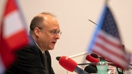Marshall Billingslea, US Special Presidential Envoy for Arms Control looks on during a press conference on June 23, 2020 in…