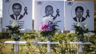 Images of the 125 doctors who have died during the COVID-19 pandemic in Peru, are displayed outside Peru's Medical College (CMP…