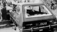 A photo taken in September 1990 in Agrigento, Sicily, obtained from Italian news agency Ansa shows the car in which Italian…